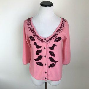 Anthropologie Embroidered Cardigan Sweater Pink
